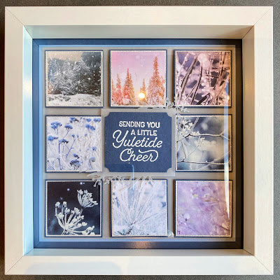 9x9 sampler frame using Feels like Frost patterned paper from Stampin' Up!